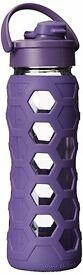 Lifefactory 22 oz glass water bottle flip flap cap silicone royal purple