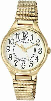 Timex Carriage C3C238, Women's Goldtone Expansion Band Watch, White Dial