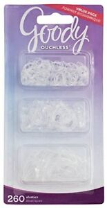 Goody Ouchless Elastic Hair Bands, Assorted Sizes, 260 count, Clear Elastics NEW