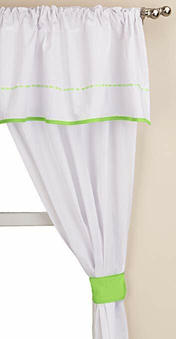 Baby Doll Bedding 5 Piece Unique Valance Curtain Set, Green