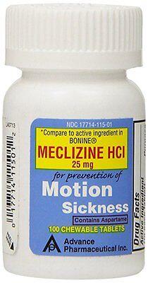 100 Meclizine 25 mg Generic Dramamine Motion Sickness Nausea Chewable Tablets