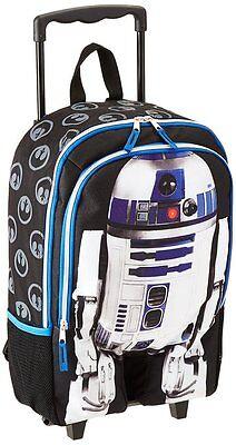 "Disney Star Wars Luggage R2D2 16"" inch Rolling Backpack - BR"