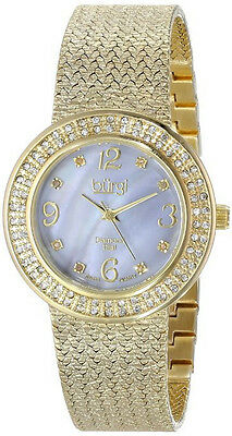 Burgi BUR097 Women's Diamond/Mother of Pearl Dial Crysal Accents Gold Tone Watch