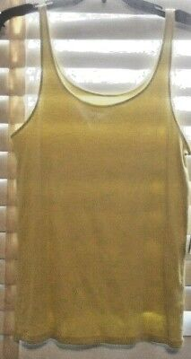 NWT Eileen Fisher ~ Art to Wear ~ Lemon Organic Cotton Baby Rib Tank Shell ~ L