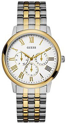 Guess Chronograph Two Tone Stainless Steel Greek Numbers Men Watch U11610g1 New