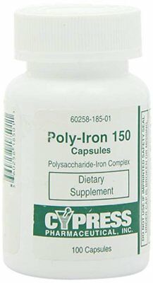 Cypress Poly-Iron 150 mg capsules, Iron Supplement 100 Tally Bottle, Pack of 1