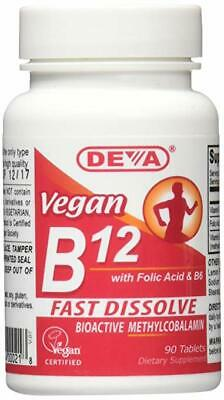 Deva Vegan Vitamins Sublingual B12 1000 mcg With Folic Acid & B6, 90 Tablets 1000 Mcg 90 Sublingual Tablets