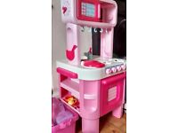 Children Play Kitchen Set with Shopping Basket and Till