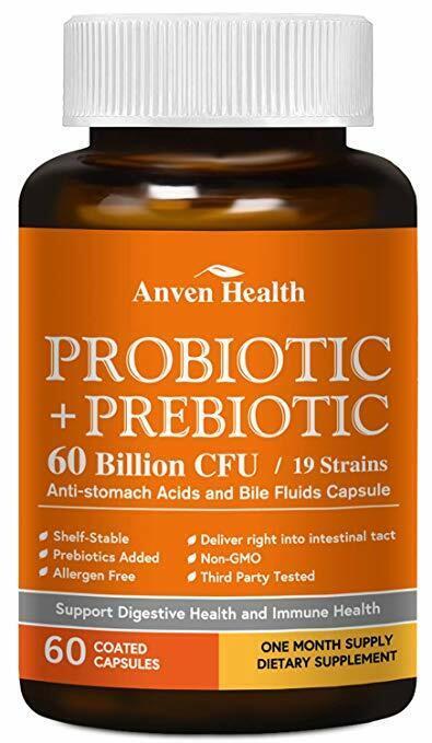 Probiotics 60 Billion CFU 19 Strains 60 Coated Capsules Anve