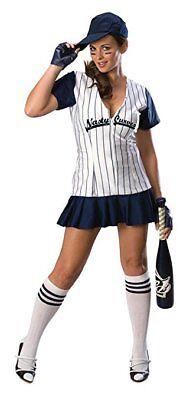 Nasty Curves Baseball Player Sexy Adult Costume - Small 4-6 - BROKEN ZIPPER!! - Women Baseball Player Costume