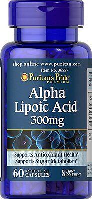 Puritans Pride Alpha Lipoic Acid 300 Mg 60 Capsules
