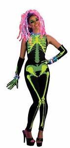 LAST ONE,Women's Skelee Skeleton, Glow-in-the-Dark Halloween Costume w/ Wig SZ L