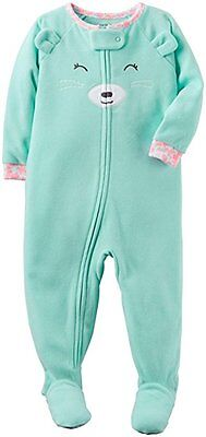 Carter's 104/110 Schlafanzug Fleece Einteiler Mädchen Winter Reißverschluss grün
