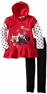 Baby Girls 12m 2 Piece - Girls  Fleece Hoodie Tunic  2 Piece Set Red Infant Baby 12M  24M clearance