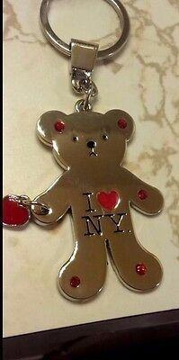 I LOVE NY HEART METAL BEAR SHAPED FLAT KEY CHAIN CHARM RED -