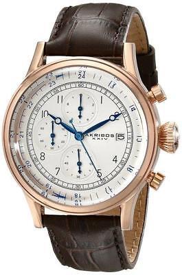 Akribos XXIV AK798RG Bold Quartz Chronograph Date Brown Leather Strap Mens Watch