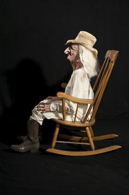 HALLOWEEN LIFE SIZE ANIMATED ROCKING CHAIR GRANDPA PROP DECORATION ANIMATRONIC - Animated Halloween Rocking Chair