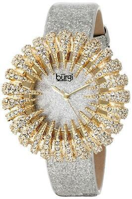 Burgi BUR112YGW Analog Display Sparkling Crystal Quartz Silver Womens Watch