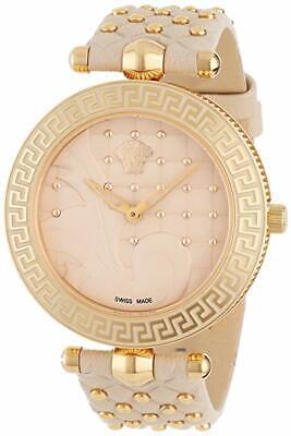 Versace Women's VK7020013 VANITAS Gold IP Steel Beige Leather Two straps Watch