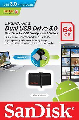 SanDisk 64GB OTG Dual Ultra USB 3.0 Micro Flash Thumb Drive Memory SDDD2-064G