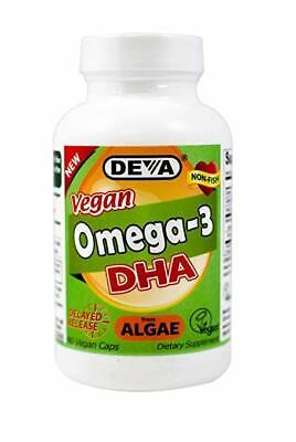 Deva Vegan Omega-3 DHA Algae, Delayed Release 90 Vegan Caps