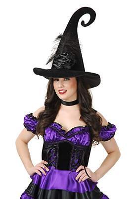 Charades Elegant Velvet Rose Gespenstisch Hexenhut Halloween - Elegante Samt Hexe Hut