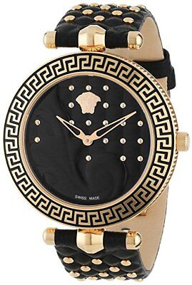 Versace Women's VK7030013 VANITAS Gold IP Steel Black Leather Wristwatch