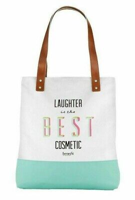 NWT Benefit LAUGHTER IS THE BEST COSMETIC Graphic Tote Bag Shopper Aqua (Best Everyday Tote Bag)