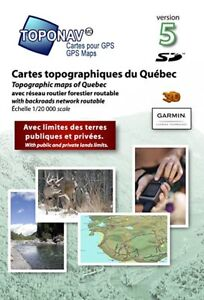 Topographic / Geocaching map of Quebec, 20k, 4 Garmin / Kenwood