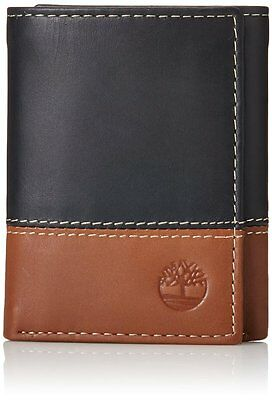 24ae92beed2 Timberland Hunter Black Brown Genuine Leather Credit Card Trifold Men Wallet