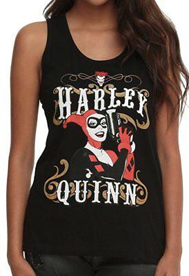 Harley Quinn DC Comics Outlaw Pose Juniors Racer Back Tank Top, Black