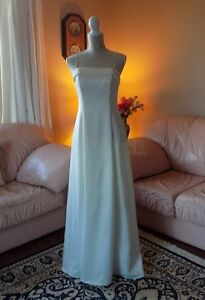 Pretty Ivory Satin Gown, spaghetti straps, ankle length