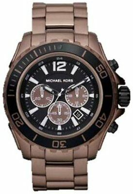 NEW MICHAEL KORS ESPRESSO  BROWN S/S CHRONO BLACK DIAL,100M MENS WATCH MK8232