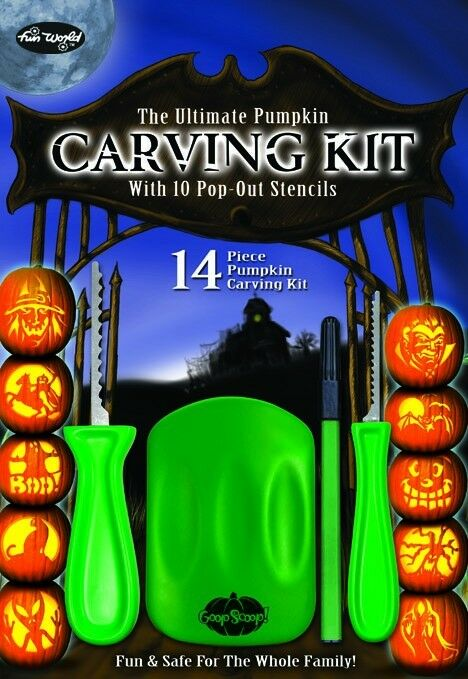 14 Piece Pumpkin Carving Kit Party Fun Halloween Knife Set Seed Scoop Stencils
