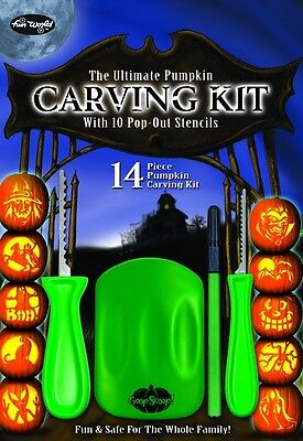 14 Piece Pumpkin Carving Kit Party Fun Halloween Knife Set Seed Scoop Stencils - Halloween Pumpkin Carvings Stencils