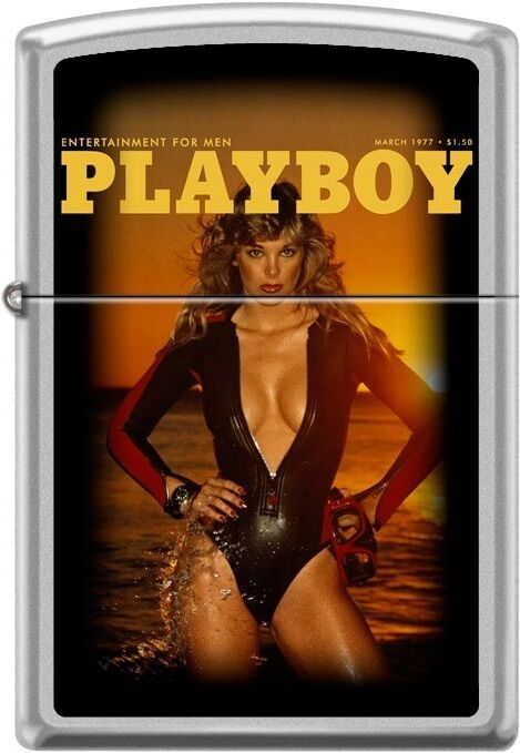 Zippo Playboy March 1977 Cover Satin Chrome Windproof Lighter NEW RARE