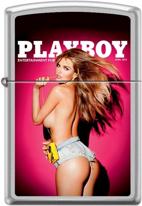 Zippo Playboy April 2014 Cover Satin Chrome Windproof Lighter NEW RARE