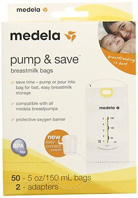Medela Pump and Save Breast Milk Bags 50 Count with 2 Adapters Free -