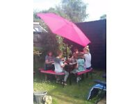Garden table and chairs / benches with umbrella