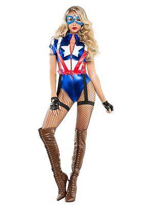 Starline Kapitän USA Amerika Comic-Bücher Erwachsene Damen Halloween Kostüm