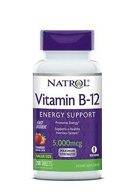 Natrol Vitamin B12 Fast Dissolve Tablets, Strawberry Flavor, 5000mcg, 200 Count (Flavor 200 Tablets)