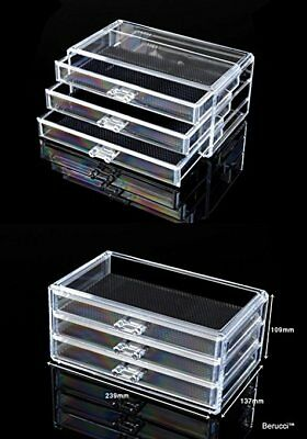 Berucci Clear Three Bottom Drawers Acrylic Jewelry Makeup Cosmetic Organizer