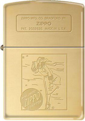 Zippo 1936 Vintage Windy Girl Engraved Polished Brass Windpr