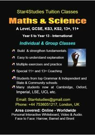 Tutor - GCSE, KS3, 11+, 13+, Maths & Science Tuition, Online or Physical, 25+ years exp. London.