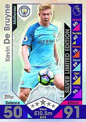 MATCH ATTAX EXTRA 2016/17 2017 KEVIN DE BRUYNE SILVER LIMITED EDITION MAN CITY