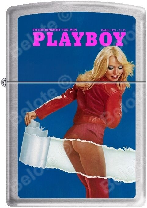 Zippo Playboy March 1975 Cover Satin Chrome Windproof Lighter NEW RARE