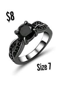 Brand New Womens Black Gold Plated Rings For Sale