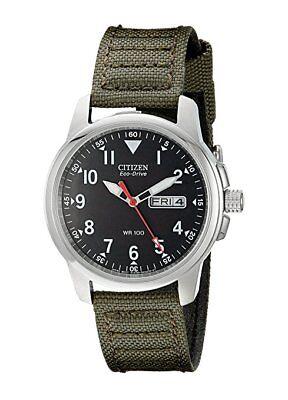 *BRAND NEW* Citizen Men's Eco-Drive Green Canvas Strap Steel Watch BM8180-03E