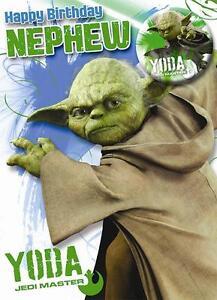 Star wars happy birthday nephew yoda birthday card badge - Bon anniversaire star wars ...