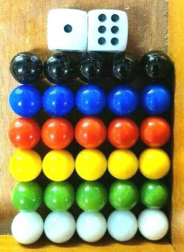 30 Solid Color Replacement 14mm Glass Marbles Set Chinese Checker Wahoo & 2 Dice